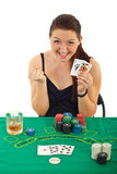 Ecstatic woman won at black jack royalty free stock photo