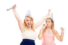Ecstatic women celebrating party Stock Photos