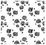 Ector墨水花卉无缝的样式 无缝现代的模式 在刷子模板的黑白纹理 Grunge模式 免版税图库摄影