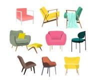 Ector椅子汇集例证 家具元素集 现代当代家庭房子装饰 时髦趋向设计师扶手椅子 免版税库存照片