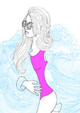 Ector beautiful fashionable woman wearing a sea coat Royalty Free Illustration