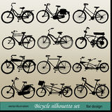Ector bicycle silhouette set Royalty Free Stock Photo