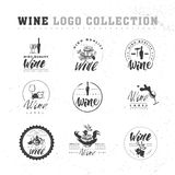 Ector collection of artistic hand drawn wine logo Royalty Free Stock Photo