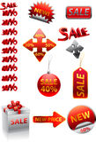 Ector great collection of red signs. Collection of icons for trade and shops royalty free illustration