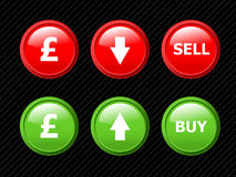 Ector icons for pound currency exchange. Stock Photo