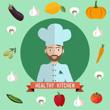 Ector illustration of chef, healthy food Royalty Free Stock Image