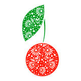 Ector illustration of decorative ornamental red cherry with leaf, isolated on the white background. Royalty Free Stock Photo