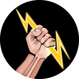 Ector illustration of lightning in the hand. Lightning in the hand in the black circle. Power fist Royalty Free Stock Image