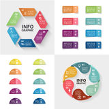 Ector infographics set. Collection of colorful templates for cycle diagram, graph, presentation and round chart. Stock Image