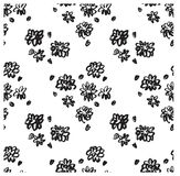 Ector ink floral seamless pattern. Modern seamless pattern. Black and white texture in brush template. Grunge pattern. Royalty Free Stock Photography