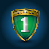 Ector no 1 winner golden label - shield. Green Stock Photo