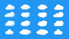 Ector Perfect And Cumulus Cartoon Cloud Icons. 3d And Flat Collection Stock Image