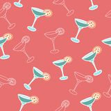 Ector seamless pattern drink with ice alcohol margarita in a gla. Vector seamless pattern drink with ice alcohol margarita in a glass, cocktails on a red pink vector illustration