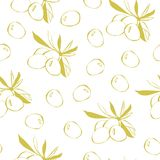 Vector seamless pattern with doodle olives on white vector illustration