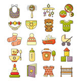 Ector set of flat design cute colorful baby icon. Stock Photo