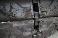 ECU detail of tread surface on captured US Army tank on display in Vietnam Stock Photography