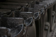 ECU higher angle detail of tread links on captured US Army tank on display in Vietnam variation Stock Photography