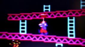 ECU «Mario» ο πρωταγωνιστής από «το γάιδαρο Kong» κλασικό αναδρομικό Arcade τηλεοπτικό Gam απόθεμα βίντεο