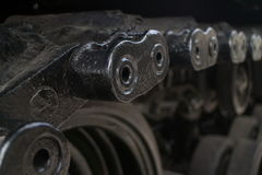 ECU shallow detail of tread links on captured US Army tank on display in Vietnam Royalty Free Stock Images
