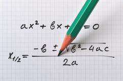 Ecuación cuadrático general fotos de archivo