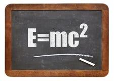 Ecuación de Einstein en la pizarra Fotos de archivo libres de regalías