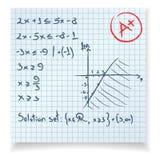 Ecuación de la prueba y del examen de la matemáticas Fotos de archivo