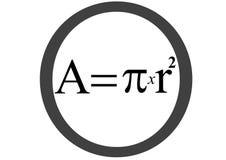 Ecuación del área del círculo Imagen de archivo