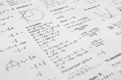 Ecuaciones de la matemáticas Imagen de archivo