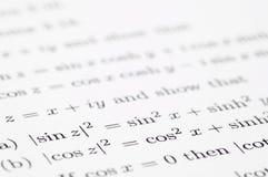 Ecuaciones trigonométricas Fotos de archivo libres de regalías