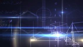 Ecuaciones y formas de la matemáticas en fondo azul Fotos de archivo libres de regalías