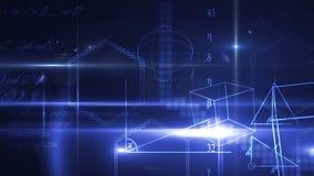 Ecuaciones y formas de la matemáticas en fondo azul Imágenes de archivo libres de regalías