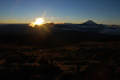 Ecuador 2008 - Cotopaxi and Ruminahui. Sunrise watched from Illinizas in 4500m Stock Photography