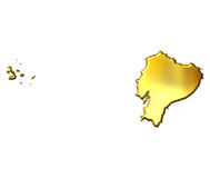 Ecuador 3d Golden Map Stock Photography