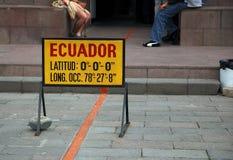 Ecuador. Sign on the equator in Ecuador stock photos