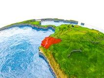 Ecuador auf Modell von Erde Lizenzfreies Stockbild