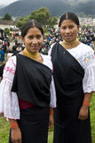 Ecuador - Ecuadorian women in Otavalo. Two teenage Ecuadorian women at the Otavalo Livestock Market in Northern Ecuador Stock Photography