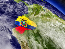 Ecuador with embedded flag on Earth Stock Photo