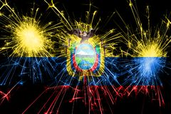 Ecuador fireworks sparkling flag. New Year, Christmas and National day concept.  vector illustration