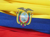 Ecuador flag or banner. Made with Yellow, blue and red ribbons stock photos