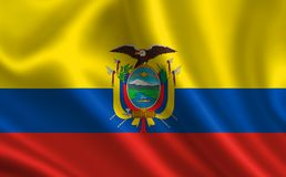 Flag of Ecuador. Part of the series. Ecuador flag blowing in the wind Stock Image