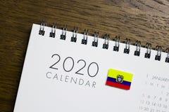 Ecuador Flag on 2020 Calendar.  stock photos