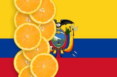 Ecuador flag and citrus fruit slices vertical row. Ecuador flag and vertical row of orange citrus fruit slices. Concept of growing as well as import and export royalty free illustration