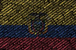 Ecuador flag is depicted on the screen with the program code. The concept of modern technology and site development.  vector illustration
