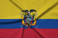 Ecuador flag is depicted on a sports cloth fabric with many folds. Sport team banner. Ecuador flag is depicted on a sports cloth fabric with many folds. Sport vector illustration