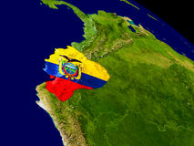 Ecuador with flag on Earth Royalty Free Stock Image