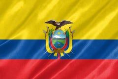 Ecuador Flag. With waving on satin texture stock image
