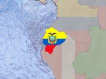 Ecuador with flag on globe Stock Photo
