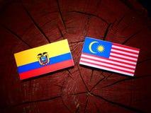 Ecuador flag with Malaysian flag on a tree stump isolated. Ecuador flag with Malaysian flag on a tree stump stock illustration