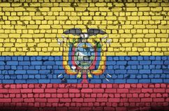 Ecuador flag is painted onto an old brick wall royalty free stock photography