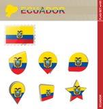 Ecuador Flag Set, Flag Set #105. Vector royalty free illustration
